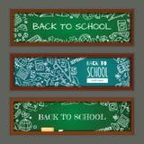 задняя школа к Установите с знаменами на теме образования для вебсайта Стоковое Фото