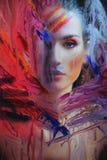 за покрашенным стеклом девушки молодым Стоковое Изображение