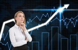 Задумчивые девушка и диаграммы на голубой стене Стоковое Изображение RF