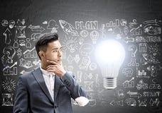 Задумчивый азиатский бизнесмен, startup идея Стоковое фото RF