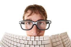 за человеком клавиатуры Стоковые Фото