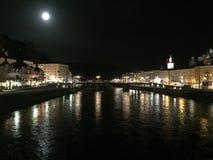 Зальцбург на ноче Стоковая Фотография RF