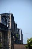 за railway железной дороги горизонта расстояния моста протягивая следы стоковая фотография