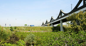 за railway железной дороги горизонта расстояния моста протягивая следы Стоковые Фотографии RF