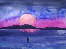 Звезда горы ландшафта и стойка человека одна ретро футуристический ст бесплатная иллюстрация