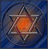 Звезда Давида и цветного стекла menorah иллюстрация вектора