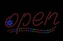 звезда знака неона открытая Стоковая Фотография RF
