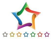 звезда иконы установленная глянцеватая Стоковые Изображения RF