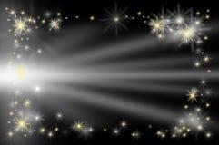 Звезда карточки VIP предпосылки на черном небе имеет освещение Стоковые Фото