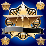 звезда комплекта декоративного золота чисто Стоковое Изображение