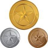звезда медалей монетки Стоковая Фотография RF