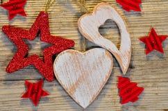 Звезда сердца Кристмас деревянная Стоковое Изображение RF