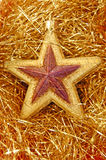 звезда украшения рождества золотистая Стоковое Изображение
