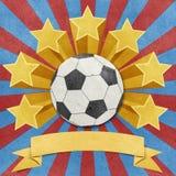 звезда футбола предпосылки рециркулированная papercraft Стоковые Фотографии RF