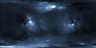 Звездные система и межзвёздное облако Панорама, карта окружающей среды 360 HDRI Проекция Equirectangular, сферически панорама Иллюстрация штока