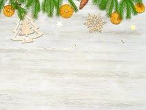 звезды абстрактной картины конструкции украшения рождества предпосылки темной красные белые Ветви ели, высушенного апельсина, игр Стоковые Фотографии RF