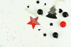 звезды абстрактной картины конструкции украшения рождества предпосылки темной красные белые творческий абстрактный состав украшен Стоковое Изображение