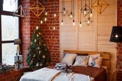 звезды абстрактной картины конструкции украшения рождества предпосылки темной красные белые Комната просторной квартиры внутрення Стоковая Фотография RF