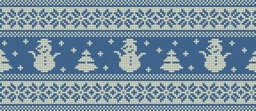 звезды абстрактной картины конструкции украшения рождества предпосылки темной красные белые Связанная картина с снеговиками и еля иллюстрация вектора