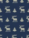 звезды абстрактной картины конструкции украшения рождества предпосылки темной красные белые Безшовная связанная картина с оленями иллюстрация вектора