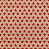 Звезды безшовной картины красные на бумаге Брауна иллюстрация штока