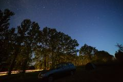 Звезды в ночном небе над шоссе в лесе Стоковые Изображения