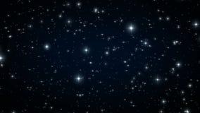 Звезды в черном ночном небе Закрепленная петлей анимация Красивая ноча с пирофакелами мерцания 4K ультра HD 3840x2160 видеоматериал