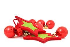 звезды красного цвета baubles стоковое фото