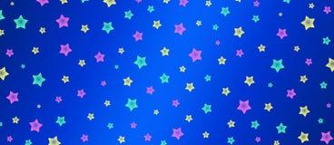 Звезды пинка, зеленых и желтых делают по образцу в голубом знамени предпосылки иллюстрация вектора