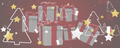 Звезды подарков на рождество с большими пальцами руки вверх по и предпосылкой 3d-illustration ели иллюстрация штока