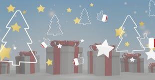 Звезды подарков на рождество с большими пальцами руки вверх по и предпосылкой 3d-illustration ели иллюстрация вектора