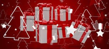 Звезды подарков на рождество с большими пальцами руки вверх по и предпосылкой 3d-illustration ели бесплатная иллюстрация