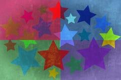 звезды прямоугольников grunge предпосылки Стоковая Фотография