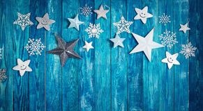 Звезды рождества на деревянных планках Стоковые Изображения