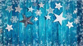 Звезды рождества на деревянных планках Стоковое Изображение