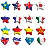 звезды сердец формы флагов иллюстрация штока