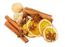 Звезда анисовки, ручки циннамона, грецкий орех и высушенный апельсин изолированные на белой предпосылке Стоковые Фотографии RF