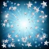 звезда взрыва предпосылки голубая Стоковая Фотография RF