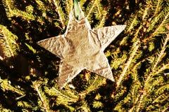 Звезда в винтажных оттенках, предпосылка рождества Стоковая Фотография