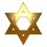 звезда золота Давида золотистая еврейская Стоковое Изображение