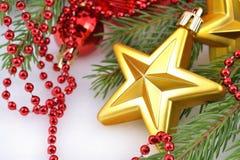 Звезда золота и украшения рождества Стоковые Фото