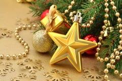 Звезда золота и украшения рождества Стоковое Фото