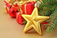 Звезда золота и украшения рождества Стоковое Изображение