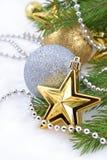 Звезда золота и шарики рождества Стоковое Изображение RF