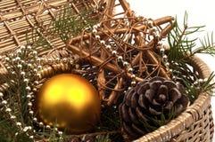 Звезда золота, рему и шарик рождества желтый Стоковая Фотография