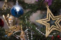 Звезда золота с голубым шариком в дереве xmass Стоковое Изображение