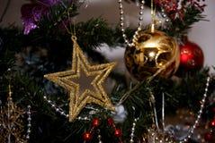 Звезда золота с золотыми и красными шариками в дереве xmass Стоковое Фото