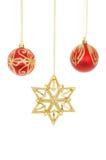 Звезда и безделушки рождества Стоковые Изображения RF