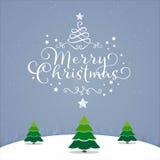 Звезда неба дерева с Рождеством Христовым рождественской открытки Стоковые Изображения