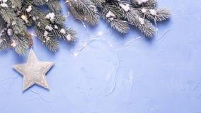 Звезда рождества, дерево меха ветвей и fairy света на голубом te Стоковая Фотография RF